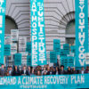 A protest by Youth v Gov with banners: We demand a climate recovery plan - Let the youth be heard - Atmosphere is a public trust